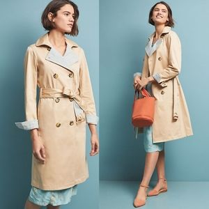 NWT Anthropologie Gingham Detailed Trench Coat